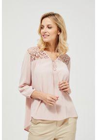 Różowa koszula MOODO bez kołnierzyka, długa, z długim rękawem