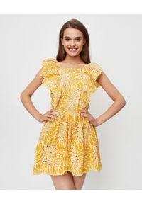 LOVE & ROSE - Żółta sukienka Rosa. Kolor: żółty. Materiał: materiał, bawełna. Wzór: haft, ażurowy. Sezon: lato. Typ sukienki: proste