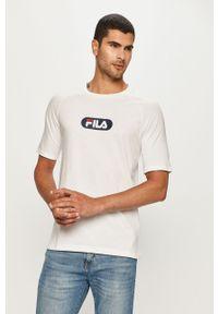 Biały t-shirt Fila na co dzień, z nadrukiem, casualowy