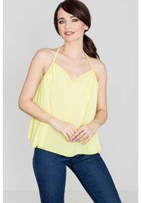 Katrus - Żółta Bluzka na Cienkich Ramiączkach. Kolor: żółty. Materiał: elastan, wiskoza, poliester. Długość rękawa: na ramiączkach