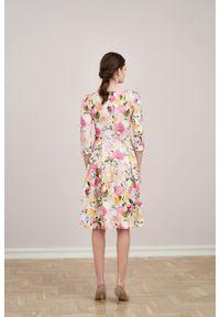 Marie Zélie - Sukienka Chione Albertiana kremowa. Kolor: kremowy. Materiał: bawełna, skóra, materiał, elastan