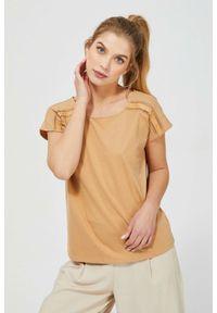 MOODO - Bluzka z ażurowym zdobieniem. Materiał: bawełna, poliester. Długość rękawa: bez rękawów. Wzór: aplikacja, ażurowy