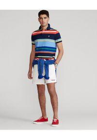 Ralph Lauren - RALPH LAUREN - Koszulka polo Custom Slim Fit Mesh. Typ kołnierza: polo. Kolor: niebieski. Materiał: mesh. Długość: długie. Wzór: haft, paski