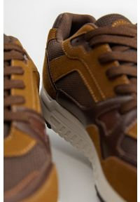 Brązowe buty sportowe Mango Man na sznurówki, z cholewką, z okrągłym noskiem