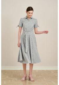 Marie Zélie - Sukienka Ariana bawełna flanelowa w szarą kratkę. Kolor: szary. Materiał: bawełna. Długość rękawa: krótki rękaw. Wzór: kratka. Typ sukienki: szmizjerki, trapezowe
