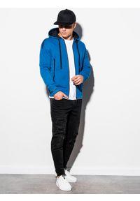 Niebieska bluza Ombre Clothing z kapturem, z nadrukiem