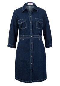 Sukienka dżinsowa ze stretchem, rękawy 3/4 bonprix ciemnoniebieski. Kolor: niebieski