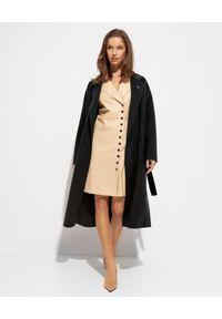 EMMA & GAIA - Czarny płaszcz z wiązaniem. Kolor: czarny. Materiał: kaszmir, wełna. Styl: klasyczny
