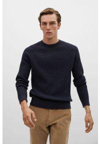 Niebieski sweter Mango Man z długim rękawem, na co dzień, długi, casualowy