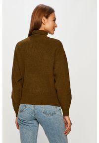 Zielony sweter Vero Moda długi, z okrągłym kołnierzem, z długim rękawem, na co dzień