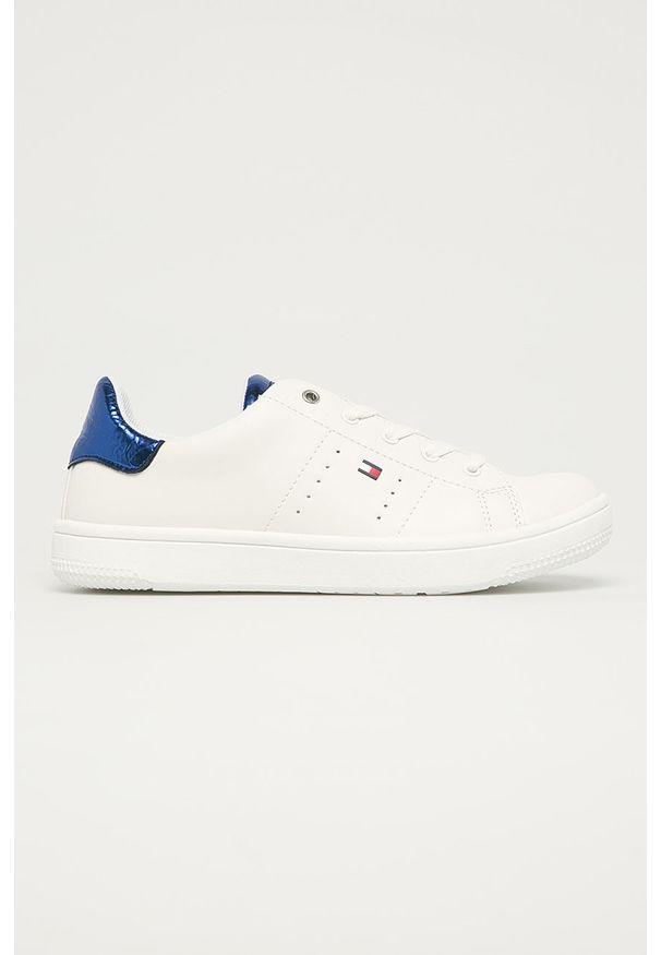 Niebieskie buty sportowe TOMMY HILFIGER na sznurówki, z okrągłym noskiem, z cholewką