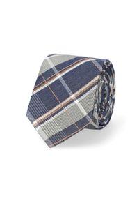 Lancerto - Krawat Granatowo-Beżowy w Kratę. Kolor: niebieski, beżowy, wielokolorowy. Materiał: mikrofibra, materiał. Styl: elegancki