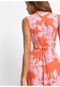 Letnia długa sukienka bonprix pomarańczowo-różowy w roślinny wzór. Kolor: pomarańczowy. Wzór: nadruk. Sezon: lato. Długość: maxi #4
