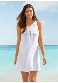 Biały top bonprix długi, z dekoltem w serek, na plażę