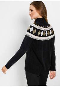 Czarny sweter bonprix klasyczny, z aplikacjami