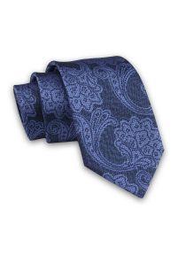 Alties - Granatowo-Niebieski Elegancki Męski Krawat -ALTIES- 7cm, Stylowy, Klasyczny, Wzór Orientalny, Kwiaty. Kolor: niebieski. Materiał: tkanina. Wzór: kwiaty. Styl: klasyczny, elegancki