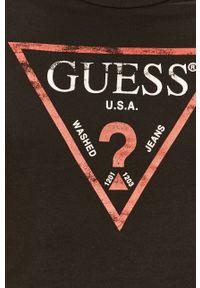 Czarny t-shirt Guess Jeans na co dzień, casualowy, z nadrukiem