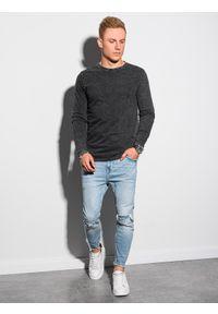 Ombre Clothing - Longsleeve męski bez nadruku L131 - czarny - XXL. Kolor: czarny. Materiał: bawełna. Długość rękawa: długi rękaw #5