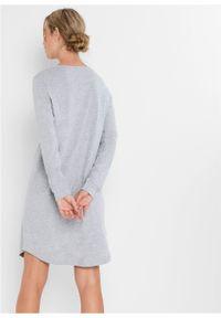 Koszula nocna z workiem upominkowym, bawełna organiczna bonprix jasnoszary melanż z nadrukiem