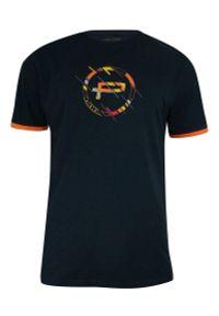 Pako Jeans - T-shirt Bawełniany, Granatowy z Pomarańczowym Nadrukiem, Męski, Krótki Rękaw, U-neck -PAKO JEANS. Okazja: na co dzień. Kolor: niebieski. Materiał: bawełna. Długość rękawa: krótki rękaw. Długość: krótkie. Wzór: nadruk. Styl: casual