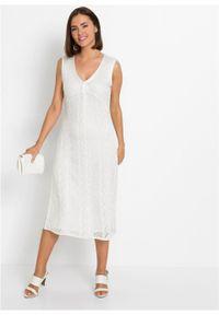 Sukienka dzianinowa w ażurowy wzór bonprix biel wełny. Kolor: biały. Materiał: dzianina, wełna. Wzór: ażurowy