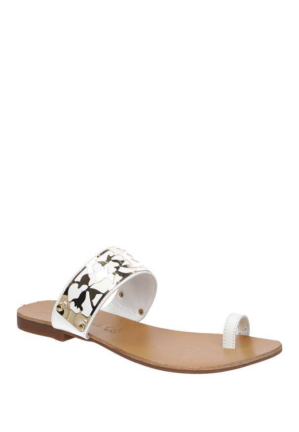 Białe klapki Mario Bolucci eleganckie, w kolorowe wzory