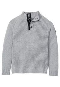 Sweter ze stójką z bawełny z recyklingu bonprix szary melanż. Typ kołnierza: kołnierzyk stójkowy. Kolor: szary. Materiał: bawełna. Wzór: melanż