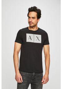 Czarny t-shirt Armani Exchange z nadrukiem, z okrągłym kołnierzem