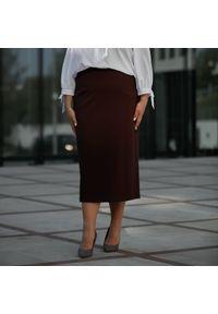 Fioletowa spódnica Moda Size Plus Iwanek krótka, biznesowa