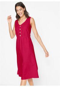 Sukienka lniana midi z plisą guzikową bonprix pomarańczowo-czerwony. Kolor: czerwony. Materiał: len. Długość: midi