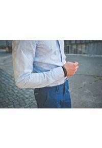 VEVA - Męska Koszula Paski Prostopadłe Błękit. Typ kołnierza: kołnierzyk klasyczny. Kolor: niebieski. Materiał: bawełna, materiał. Długość rękawa: długi rękaw. Długość: długie. Wzór: paski