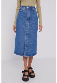 Samsoe & Samsoe - Samsoe Samsoe - Spódnica jeansowa. Okazja: na co dzień. Stan: podwyższony. Kolor: niebieski. Materiał: jeans. Styl: casual #4