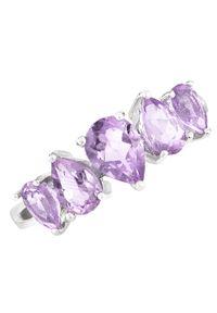 Braccatta - LILU Srebrny pierścionek z ametystem, delikatny 2,0 ct. Materiał: srebrne. Kolor: srebrny. Kamień szlachetny: ametyst