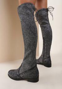Renee - Szare Kozaki Chace. Wysokość cholewki: przed kolano. Nosek buta: okrągły. Zapięcie: zamek. Kolor: szary. Materiał: materiał. Szerokość cholewki: normalna. Obcas: na obcasie. Wysokość obcasa: niski