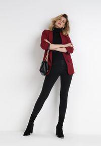 Born2be - Bordowa Marynarka Alexithise. Okazja: na co dzień. Kolor: czerwony. Materiał: jeans. Wzór: aplikacja. Styl: sportowy, klasyczny, casual #6