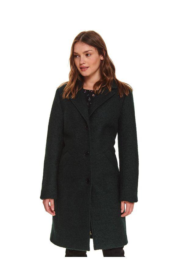 TOP SECRET - Klasyczny płaszcz z kieszeniami. Okazja: na co dzień, do pracy. Kolor: zielony. Długość: długie. Sezon: zima. Styl: klasyczny