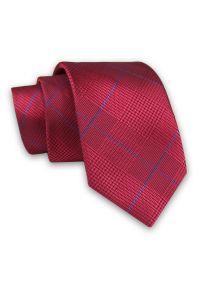 Alties - Czerwony Elegancki Męski Krawat -ALTIES- 7cm, Stylowy, Klasyczny, w Niebieską Kratkę. Kolor: niebieski, czerwony, wielokolorowy. Materiał: tkanina. Wzór: kratka. Styl: klasyczny, elegancki