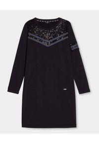 Liu Jo - LIU JO - Czarna sukienka mini z cekinami. Kolor: czarny. Długość rękawa: długi rękaw. Wzór: haft, aplikacja. Długość: mini