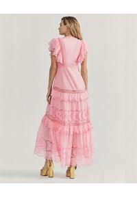LOVE SHACK FANCY - Różowa sukienka maxi Rinny. Kolor: wielokolorowy, różowy, fioletowy. Materiał: koronka, bawełna. Wzór: geometria, aplikacja, ażurowy. Typ sukienki: rozkloszowane. Długość: maxi