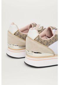 Beżowe sneakersy Emporio Armani na sznurówki, z okrągłym noskiem