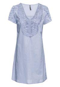 Sukienka z koronką bonprix niebieski gołębi. Typ kołnierza: dekolt w serek. Kolor: niebieski. Materiał: koronka. Wzór: koronka. Długość: mini