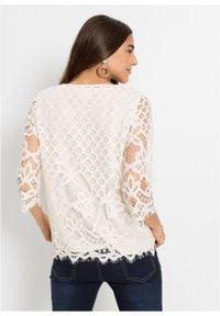 Shirt koronkowy bonprix ecru. Kolor: biały. Materiał: koronka. Wzór: koronka