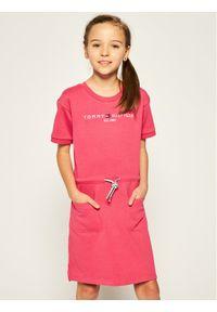 Różowa sukienka TOMMY HILFIGER prosta, na co dzień, casualowa