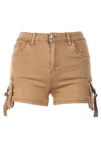 Renee - Beżowe Szorty Kimodelia. Stan: podwyższony. Kolor: beżowy. Materiał: jeans. Styl: sportowy