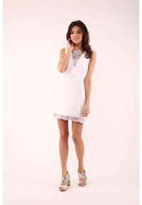 Szara sukienka wizytowa Nommo bez rękawów, mini