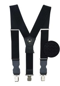Modini - Szerokie czarne szelki męskie do spodni z czaszkami T17. Kolor: czarny. Materiał: skóra, guma