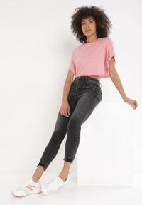 Born2be - Czarne Jeansy Skinny Zelimine. Kolor: czarny. Długość: długie. Wzór: aplikacja
