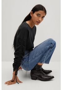 Czarna bluzka z długim rękawem mango gładkie, casualowa, na co dzień