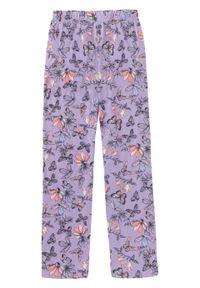 Spodnie piżamowe (2 pary) bonprix kolor bzu z nadrukiem + szary melanż