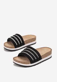 Born2be - Czarne Klapki Madore. Nosek buta: okrągły. Kolor: czarny. Materiał: zamsz. Styl: elegancki